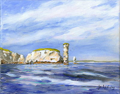 Poster featuring the painting Old Harry Rocks by Jo Appleby