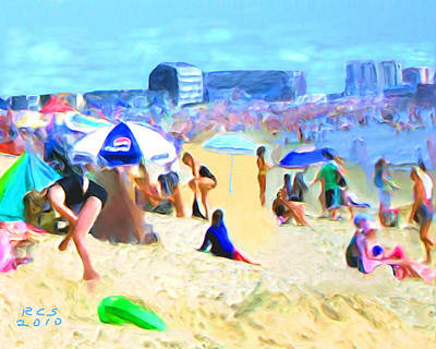 Poster featuring the digital art Old Orchard Beach by Richard Stevens
