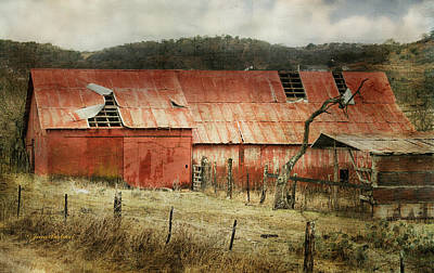 Poster featuring the photograph Old Red Barn by Joan Bertucci
