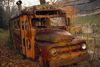 Old Rusting School Bus Sitting Among Poster
