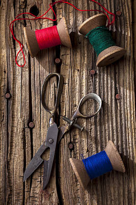 Old Scissors And Spools Of Thread Poster by Garry Gay