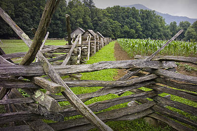 Old Split Rail Fence On A Farm In The Smokey Mountains Poster
