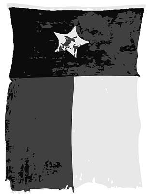 Old Texas Flag Bw3 Poster