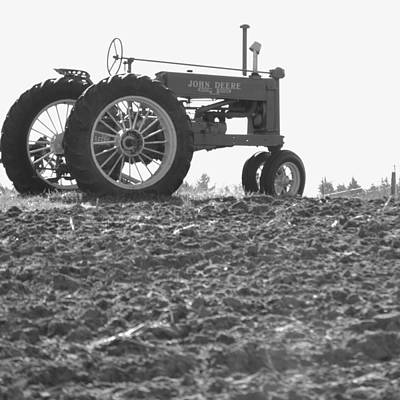 Old Tractor II In Black-and-white Poster