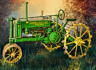 Poster featuring the digital art Old Tractor by Mary Almond