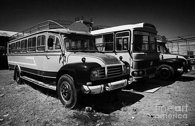 old traditional bedford bus coaches parked in Limassol lemesos republic of cyprus europe Poster