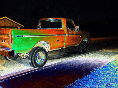 Old Truck At Night Poster