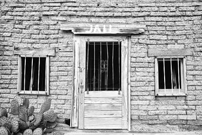 Old Western Jailhouse In Black And White Poster