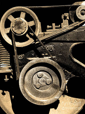 Old Western Pacific Caboose Train Wheel . 7d10626 . Sepia Poster by Wingsdomain Art and Photography