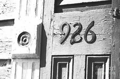 Old Worn Wooden Door And Numbers French Quarter New Orleans Black And White Film Grain Digital Art Poster