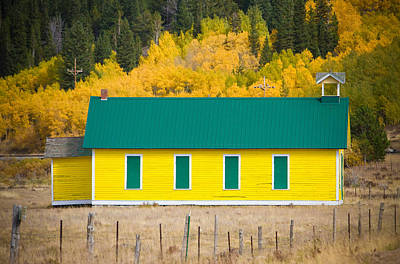 Old Yellow School House With Autumn Colors Poster by James BO  Insogna