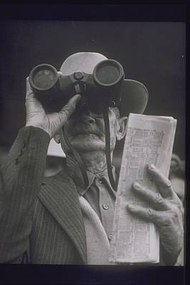 Older Man At Race Track, 1950s Poster