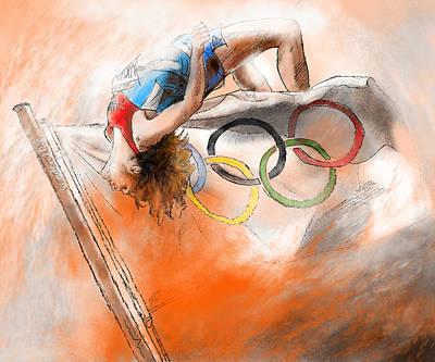 Olympics High Jump Gold Medal Ivan Ukhov Poster by Miki De Goodaboom
