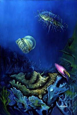 Poster featuring the painting One Fish Two Jelly Fish by Lynn Buettner