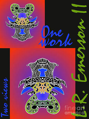 One Work Two Views 2009 Collectors Poster By Topsy Turvy Upside Down Masg Artist L R Emerson II Poster by L R Emerson II