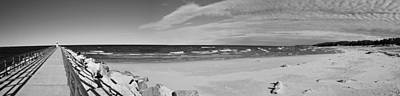 Onekama Pier And Beach In Black And White Poster by Twenty Two North Photography