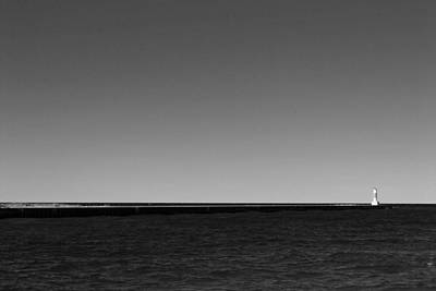 Onekama Pier In Black And White Poster by Twenty Two North Photography