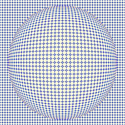 Optical Illusion Blue Yellow Ball Poster by Sumit Mehndiratta