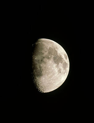 Optical Image Of A Waxing Gibbous Moon Poster by John Sanford