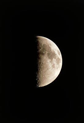 Optical Image Of A Waxing Half Moon Poster by John Sanford