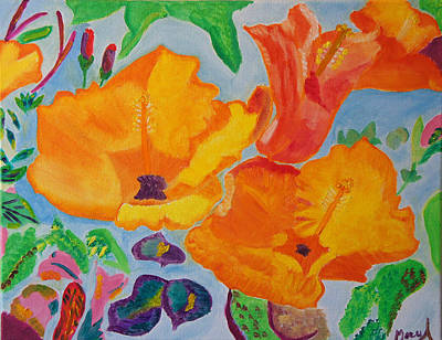 Orange Flowers Reaching For The Sun Poster by Meryl Goudey