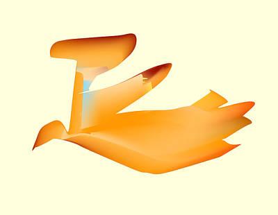 Poster featuring the digital art Orange Jetpack Penguin by Kevin McLaughlin