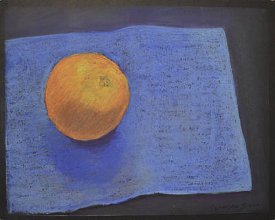 Poster featuring the pastel Orange On Blue by Genevieve Brown
