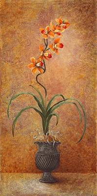 Poster featuring the painting Orange Orchid by Pam Talley