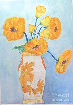 Orange Poppies In Water Color Poster