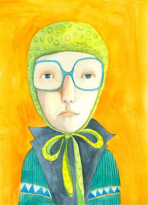 Orange Portrait With Glasses Poster by Jenny Meilihove