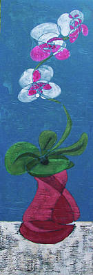 Poster featuring the painting Orchid Inspired Floral On Blue 1 by John Gibbs
