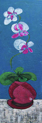 Poster featuring the painting Orchid Inspired Floral On Blue 2 by John Gibbs