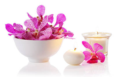 Orchid With Candle Poster by Atiketta Sangasaeng