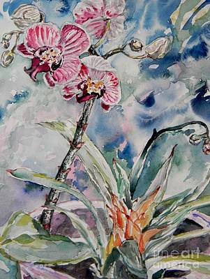Orchids On Blue Poster by Emily Michaud