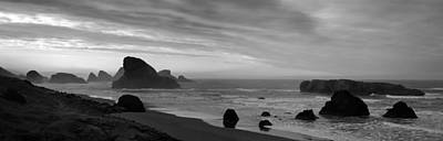Oregon Coast Panorama Black And White Poster