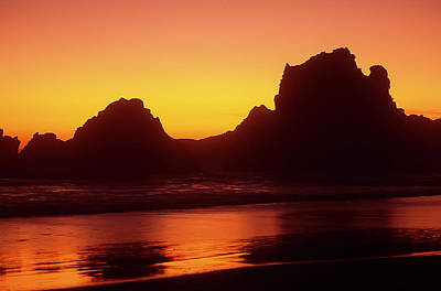Oregon Coast Rocks Sunset Poster