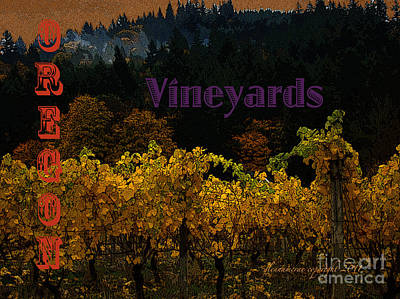 Poster featuring the digital art Oregon Vineyards by Glenna McRae