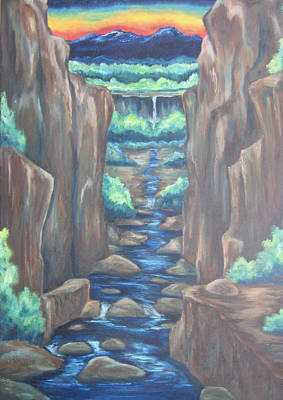 Poster featuring the painting Out Of The Canyon by Cheryl Pettigrew