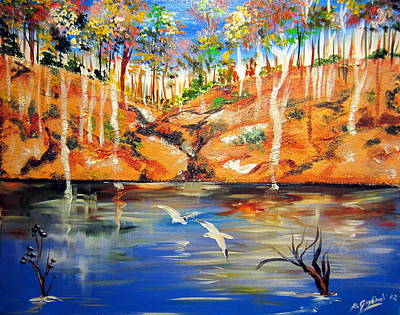 Poster featuring the painting Outback Billabong My Way by Roberto Gagliardi