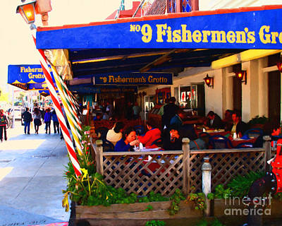 Outdoor Dining At The Fishermens Grotto Restaurant . Fisherman.s Wharf . San Francisco California Poster by Wingsdomain Art and Photography