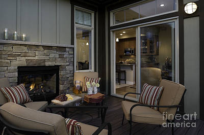Outdoor Patio With Fireplace Poster