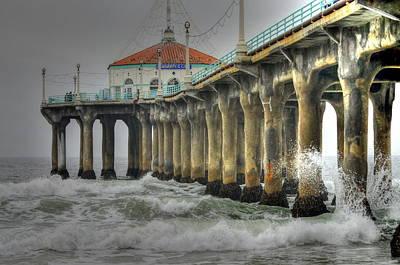 Overcast Manhattan Beach Pier Poster