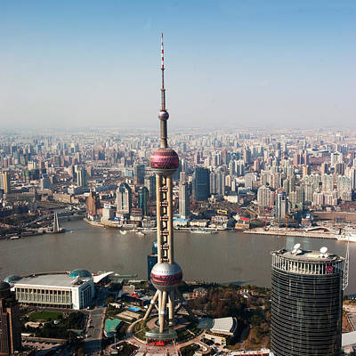 Overhead View Of Oriental Pearl Tower In Shanghai Poster by Roy Hsu