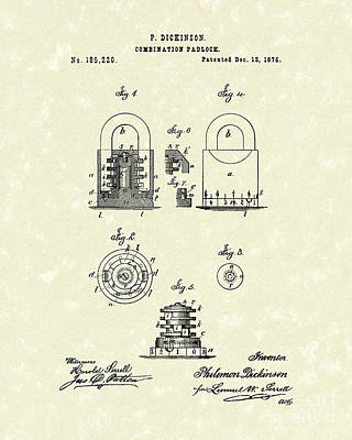 Padlock 1876 Patent Art Poster by Prior Art Design