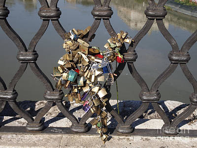 Padlocks On Bridge. Rome Poster by Bernard Jaubert