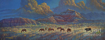 Poster featuring the painting Painted Desert Painted Horses by Rob Corsetti