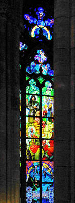 Painted Glass - Alfons Mucha  - St. Vitus Cathedral Prague Poster by Christine Till