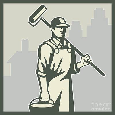 Painter Paint Roller Worker House Retro Poster by Aloysius Patrimonio