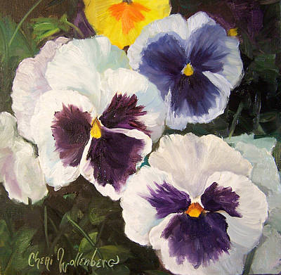 Painting Of Pansies Poster by Cheri Wollenberg