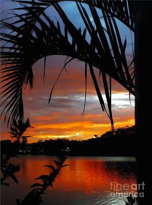Palm Framed Sunset Poster by Kaye Menner
